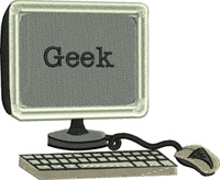 Geek Computer-Computer, geek, laptop, desk top, desktop, machine embroidery