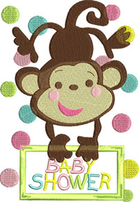 George baby shower-Baby,machine embroidery, baby shower, George, monkey, shower, childrens embroidery,