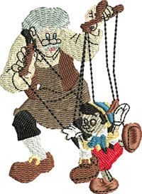 Geppetto and puppet-Geppetto, puppet, pinocchio, machine embroidery, embroidery