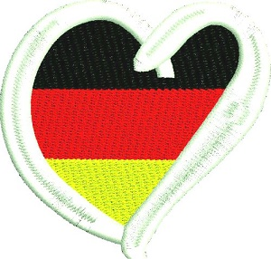 German Heart-Germany machine embroidery German heart German flag in heart