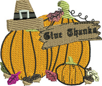 Give Thanks-Thanksgiving, embroidery, machine embroidery, Give Thanks, Thanks embroidery, Holiday embroidery