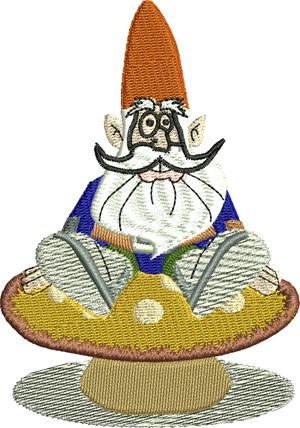 Gnome on mushroom-Gnome, Gnomes, mushroom, machine embroidery