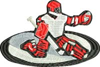 Goallie-Hockey, goalie, sports embroidery, hockey embroidery, machine embroidery