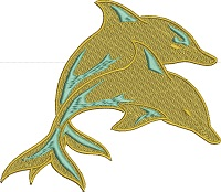 Golden Dolphins-Dolphins golden dolphins machine embroidery embroidery sea life