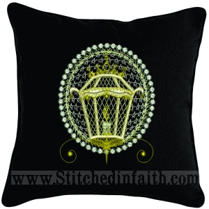 Golden Lantern Pillow-Christmas pillows embroidered pillows gift pillow holiday pillows elegant pillows Lantern pillow golden pillows stitchedinfaith.com