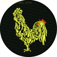 Golden Rooster-Golden rooster embroidery, Rooster machine embroidery, machine embroidery, barn animals embroidery, Chinese Rooster embroidery, China new years embroidery, stitchedinfaith.com