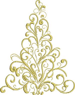 Golden Christmas tree-Christmas tree, machine embroidery, Christmas embroidery, tree, Holiday
