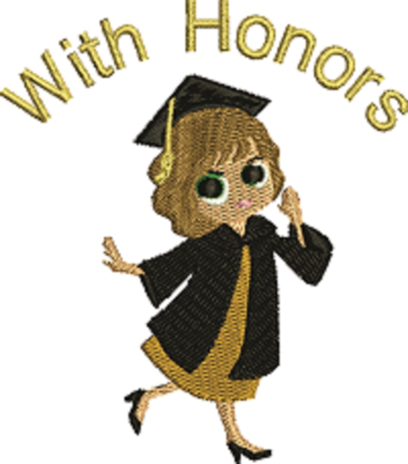 Graduate With Honors Machine Embroidery Design Female