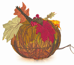 Grapevine pumpkin-Grapevine, pumpkin, machine embroidery, grapevine pumpkin,