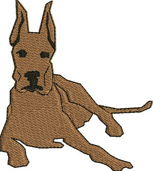 Great Dane-Great Dane dog,  machine embroidery, great dane, dog embroidery