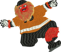 Gritty-Gritty, Hockey, embroidery, machine embroidery, mascot, flyers