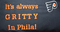 Gritty in Phila embroidered stadium pocket pillow-Gritty,hockey,ice hockey,flyers,pillow,reading pillow, stadium pillow