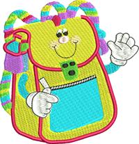 Happy Backpack-machine embroidery, school, backpack, school embroidery, back to school,