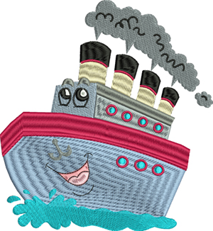 Happy Crusin-Boat, cruise, ship, cute, vacation, cruise ships, machine embroidery,embroidery