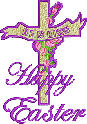 Happy Easter Cross-Happy, Easter, Cross, Risen, Jesus, Holiday, Religion, Christian, machine embroidery