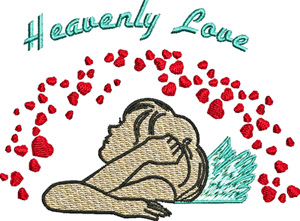 Heavenly Love-Love, Heavenly, machine embroidery, Valentine, Hearts, angel