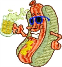 Hot dog and beer-Hot dog, beer, machine embroidery, Hot dog embroidery, beer embroidery, food embroidery, barbecue embroidery, embroidery designs