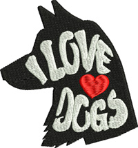 I love dogs-Dog embroidery, machine embroidery, dogs, love dogs embroidery, animal embroidery