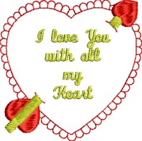 I love you with all my heart-Valentines Day, Love you, I love you, embroidered scalloped heart, heart, machine embroidery, heart embroidery,stitchedinfaith.com
