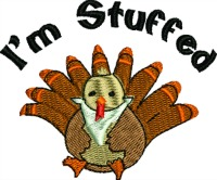 I'm stuffed-Thanksgiving fat turkey turkey embroidery fun turkey machine embroidery Holiday embroideryThanksgiving turkey