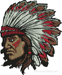 Indian Chief-Indian chief embroidery, Indian embroidery, machine embroidery, American Indian embroidery, Embroidery designs, Machine Embroidery designs, Stitchedinfaith.com