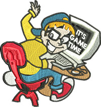 Its game time-Machine embroidery, computer, computer games, playing games, computers