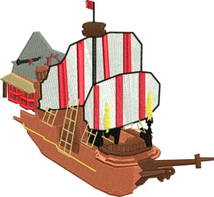 Jolly Roger ship-Jolly, Roger, ship, pirate, peter, pan, boat, machine embroidery