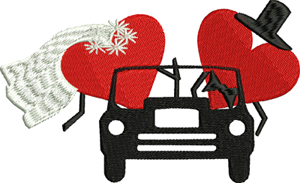 Just Married-Married, Wedding, Marriage, Just Married, machine embroidery