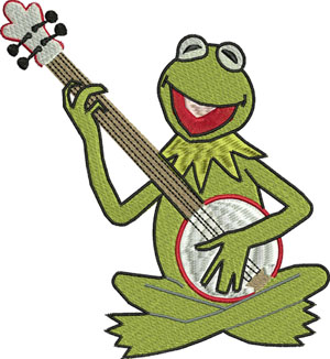 Kermit-frog,kermit,machine embroidery, childrens embroidery, baby embroidery, tv