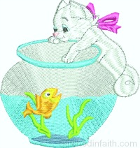 Kitty in the fish bowl