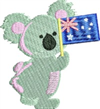 Koala Bear Australian Flag-Australia Koala bear Australian koala bear machine embroidery stitchedinfaith.com