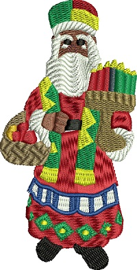 Kwanzaa Santa-Kwanzaa, Kwanzaa embroidery, Kwanzaa Santa, Holiday embroidery, Christmas embroidery