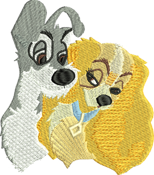 Lady and Tramp-dogs,movies,machine embroidery, children, cockier spaniel,