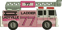 Ladyville Fire Truck-FIRE TRUCK PINK FIRE TRUCK LADIES FIRE TRUCK MACHINE EMBROIDERY