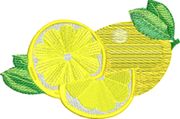 Lemons-Lemons, machine embroidery, fruit embroidery, lemon embroider
