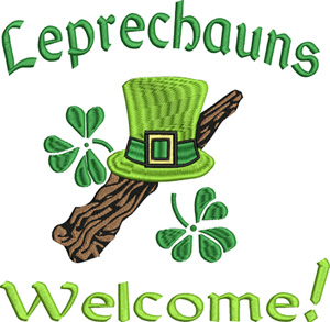 Leprechaun welcome-Leprechauns, St. Patricks Day, Irish, Ireland, machine embroidery, embroidery, clovers