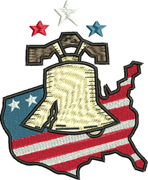 Liberty stars and stripes-Liberty, USA, Flag, Stars and stripes, Freedom, Liberty Bell, machine embroidery