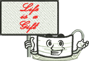 Life is a gift-Face mask, nurse, mask, medical, hospital, doctor. face protection machine embroidery