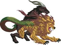 Lion Goat-Lion, mythical, creatures, goat, monsters, Greek, Mythology,machine embroidery