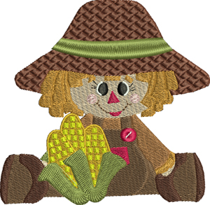 Little Miss Corn Picker-Fall, corn, picker, Miss, harvest, cute, child ,autumn, machine embroidery