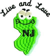 Live and Love NJ-New Jersey love NJ. Live and love NJ machine embroidery embroidery stitchedinfaith.com NJ