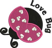 Love bug-Love bug, lady bug, bugs, insects, machine embroidery