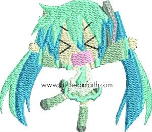 Chibi Miku San-Chibi Miku-San Miku San machine embroidery Japanese dolls Japanese toys children stitchedinfaith.com