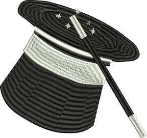 Magician-Magician, Magic, Magician hat, Magician wand, machine embroidery