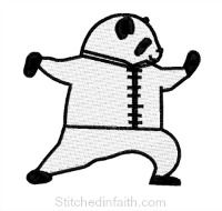 Martial Arts Panda-Martial arts embroidery, Panda embroidery, Chinese embroidery, Karate embroidery, animal embroidery, stitchedinfaith.com, Tai Chi embroidery