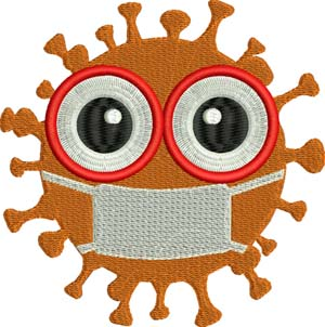 Masked virus-Virus, Mask, covid, 19, machine embroidery, masks,