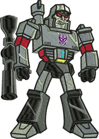 Megatron-Megatron, machine embroidery, transformer, toy, embroidery
