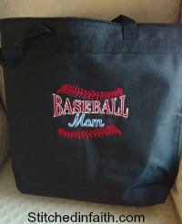 Embroidered Baseball Mom totes-Tote Bags, embroidered bags, embroidered totes, gift totes, beach bags