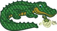 Mommy alligator and baby-Alligator, baby alligator, Mommy alligator, machine embroidery