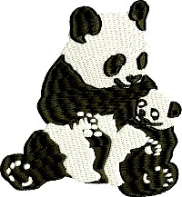 Mommy and baby Panda Bears-Panda bears Panda bear machine embroidery bears Panda